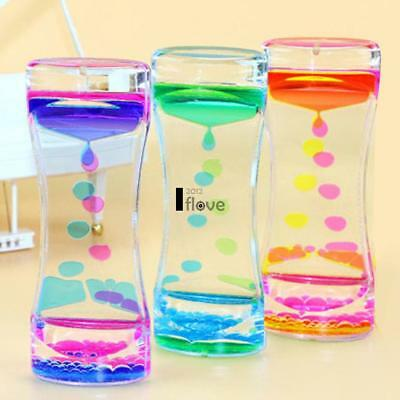 Floating Color Mix Illusion Timer Slim Acrylic Liquid Oil Hourglass Timer New IL