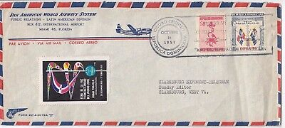 Stamps Dominica Pan American cover Exhibition Cinderella label airmail to USA