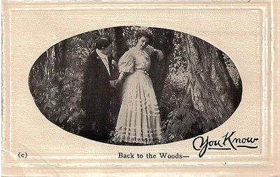 Vintage Postcard Courting Couple Back to the Woods Unused c.1910