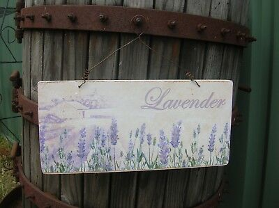 Wooden Shabby Country Lavender Wall Sign Plaque