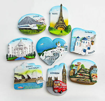 Multi Countries 3D Tourism View Resin Magnet Refrigerator Sticker Family Gift UK