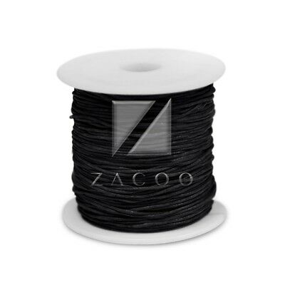 1 Roll 80M 0.8mm Waxed Cotton Cord Jewelry Making Thread Beading Supply Black