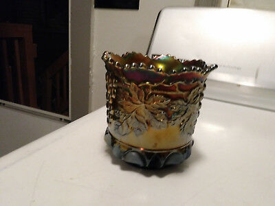 Vintage  Northwood Carnival Irridescent Amber Grape And Cable  Bowl Stamped