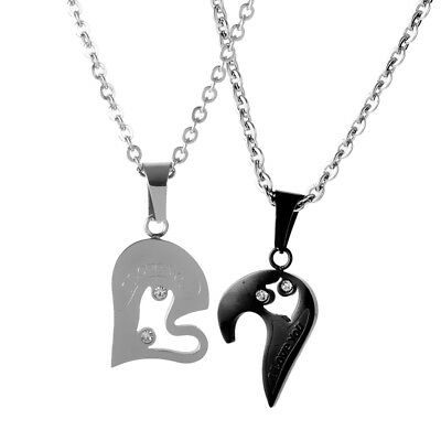 Couple Stainless Steel Love Heart Shape Pendant Chain Necklace I Love you