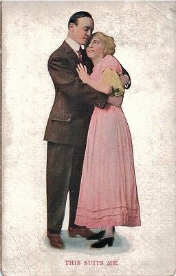 Vintage Postcard Courting Couple 'This Suits Me' Used