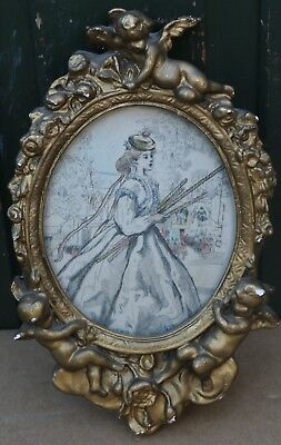 Fab Looking Small Or Miniature Gilt Picture Frame With Cupids On To Touch Up