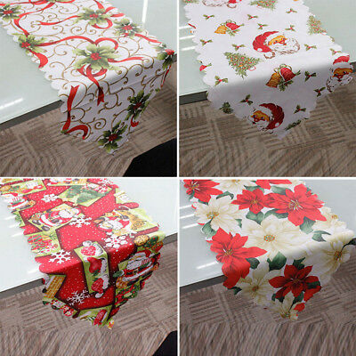"Decorative Christmas Santa Claus Tapestry Poinsettia Table Runner 14x71 "" Fabric"