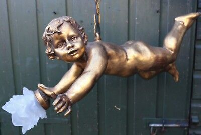Fabulous Looking Very Large Hanging Cherubic Type Figure Holding Light  (1