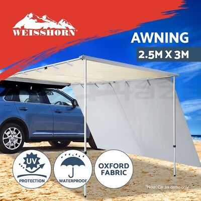 3M X 2.5M Car Side Awning & Extension Roof Rack Tents Shades Camping 4X4 4WD