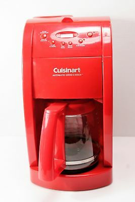 EUC! Cuisinart 12 Cup Automatic Coffee Maker Grind and Brew DGB500RC RED