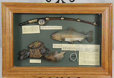 Vintage FLY FISHING Themed SHADOW BOX w/ Rod, Trout, Wicker Creel, ++  Man Cave