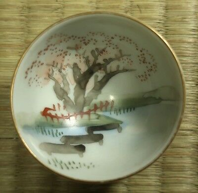 Ceramic Sake Cup / Tree in Pond / Kutani Mark / Japanese / Antique
