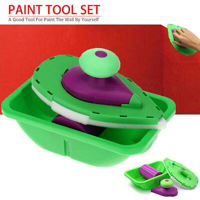 7Pcs/Set Point And Paint Pad Painting Roller Tray Sponge Kit Home DIY Brush AU