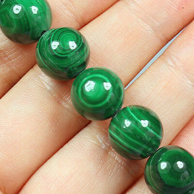 252CT 100% Natural Rarely seen Bull's Eye Green Malachite Bead Bracelet BMA101