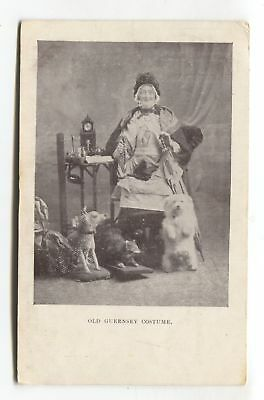 Old Guernsey Costume - woman, dog, taxidermy - 1905 used postcard