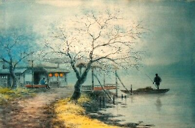 """S. Tosuke Japanese Wc """"fishing By A Misty Lake"""" C 1920"""