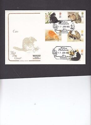 1995 Cats Cotswold FDC with William Shakespeare Stratford upon Avon H/S