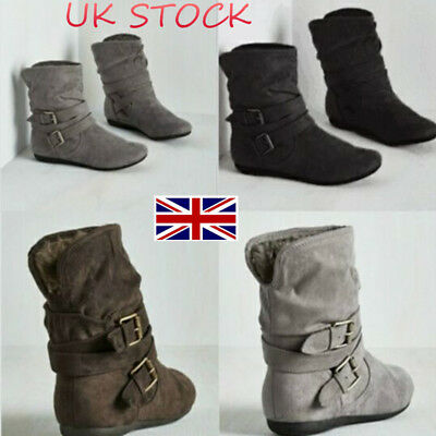 UK Women's Slip On Shoes Suede Buckle Ankle Slouch Boots Flats Biker Size 3 - 8