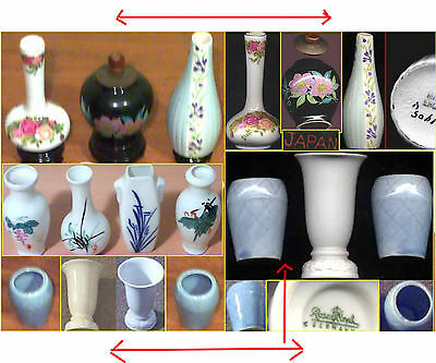 Ornamental SET 10x Assorted Porcelain Miniature VASES mixed Dimensions 5cm -13cm
