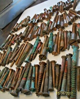 Big Lot Of 4+ Lb. Of Large, Vintage Bronze Slotted Flat Head Wood Screws, Lot #3