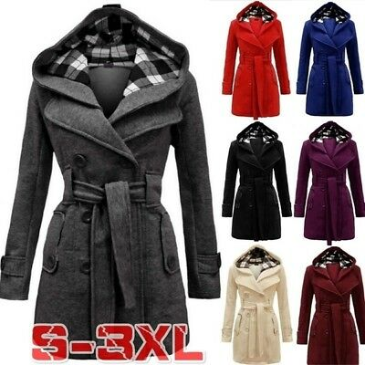 New Women Warm Winter Hooded Coat Wool Blends Double-Breasted Jacket Outwear