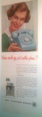 1959 BLUE TELEPHONE by BELL TELEPHONE SYSTEM ORIGINAL AD