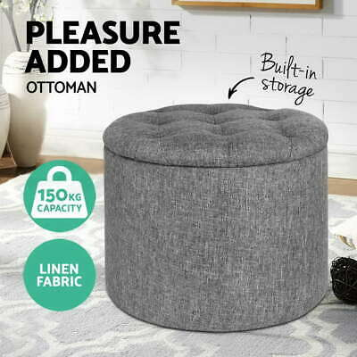 Pine Wooden Storage Ottoman Footstool Fabric Foot Rest Stool Padded Seat Grey