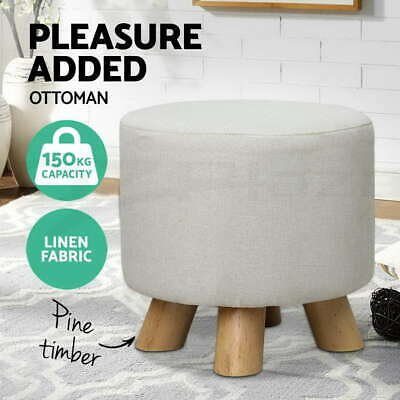 Pine Wooden Ottoman Footstool Pouffe Stool Fabric Foot Rest Padded Seat Beige