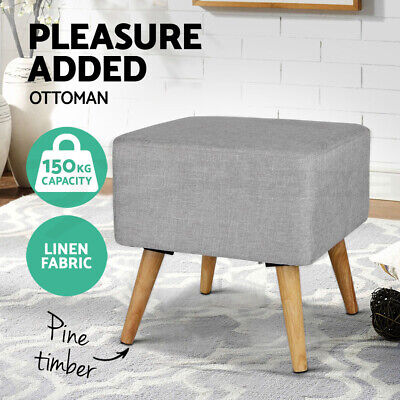 Pine Wooden Ottoman Footstool Pouffe Stool Fabric Foot Rest Padded Seat Grey