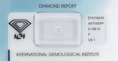 Diamant 0,198 ct F VS 1 IGI Zertifikat  - Sealed -