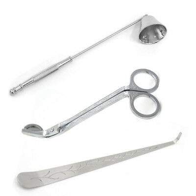 3pcs Stainless Steel Scissor Wick Trimmer Snuffer Extinguish Candle Tool Set