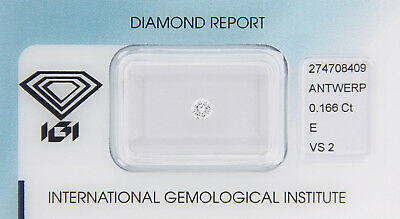 Diamant 0,166 ct E VS 2 IGI Zertifikat  - Sealed -