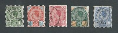 1899-1908 Thailand. 5 Different King Chulalongkorn Definitive Stamps. Good Used