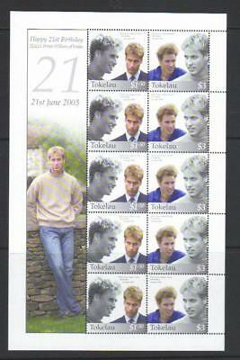 TOKELAU 2003 21st BIRTHDAY OF PRINCE WILLIAM OF WALES MNH S/S CAT £27+