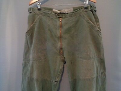 Vtg 50s French OD olive paratrooper para army work cinch trousers chore pants