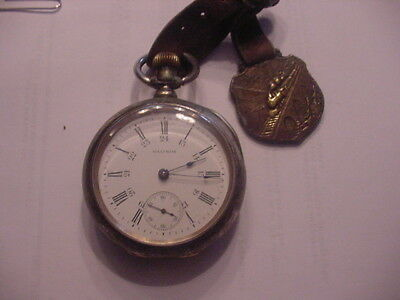 Watham 18s 15 Jewel Coin Silver 3 0z case With fob and 24 Hour Dial #20416221