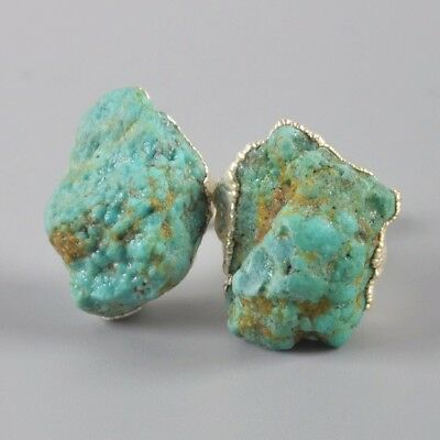 Freeform Rough Natural Genuine Turquoise Stud Earrings Silver Plated H99424