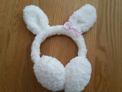 ACCESSORIZE ivory with pink bow ear muffs bunny ears soft plush girls 3-6 years