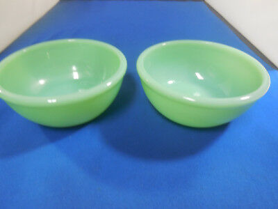 "2 Restaurant Ware Jadite Jadeite Fire King 5"" Chili / Soup / Cereal Bowls"