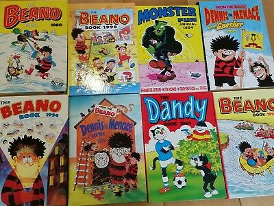 8 annuals from 80's & 90's Beano Dandy & Minster Fun annuals