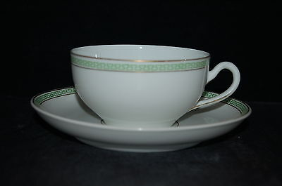 Heinrich H & Co Greek Key Green Gold Cup and Saucer