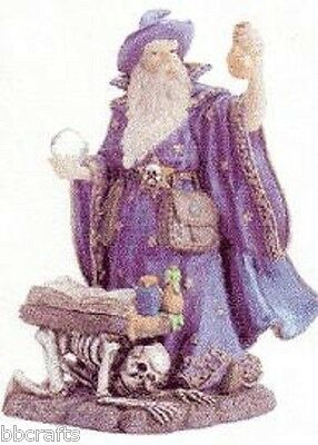 New In Box Large Alabastrite Merlin With Crystal Ball & Flask Statue Collectible