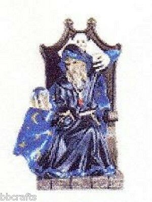 New In Box Alabastrite Merlin With Crystal Ball In Chair Statue Collectible