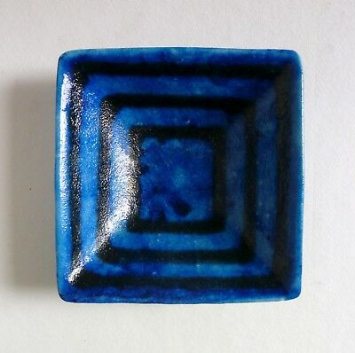 GAMBONE Italy Vintage Square Art Pottery DISH. Blue Black Glazed Signed