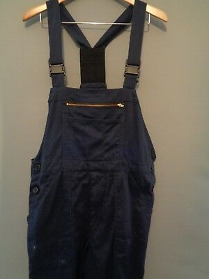 Vtg French blue cotton work trousers bibs overalls dungarees chore pants