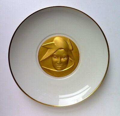 KPM Porcelain Germany Relief Gold Medallion Wall PLATE. Sigmund Schütz Arkadia