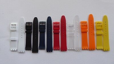 Resin Strap For Swatch Blue/Black//Red/White/Clear/Yellow/Orange - 17Mm