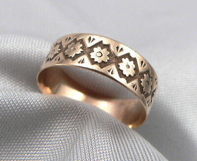 Antique Victorian 10K Rose GOLD Floral CIGAR BAND RING 5.6mm Wide 1.1g Size 5.25