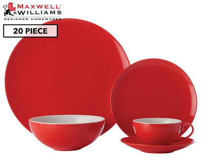 Maxwell & Williams Colour Basics 20-Piece Coupe Dinner Set - Red
