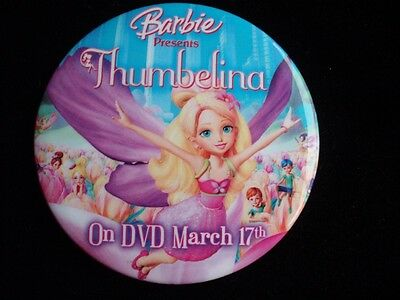 Barbie Doll Thumbelina Movie Dvd Canada Promo Button Pin Badge New